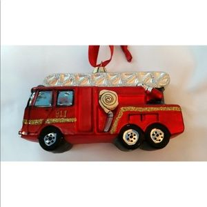 Pottery Barn Fire Truck Ornament